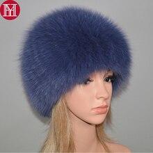 Luxury 100% NATURAL จริงฟ็อกซ์ขนสัตว์หมวกผู้หญิงฤดูหนาวถัก Fox FUR BOMBER หมวกอบอุ่นนุ่มฟ็อกซ์ขนสัตว์ Beanies หมวก