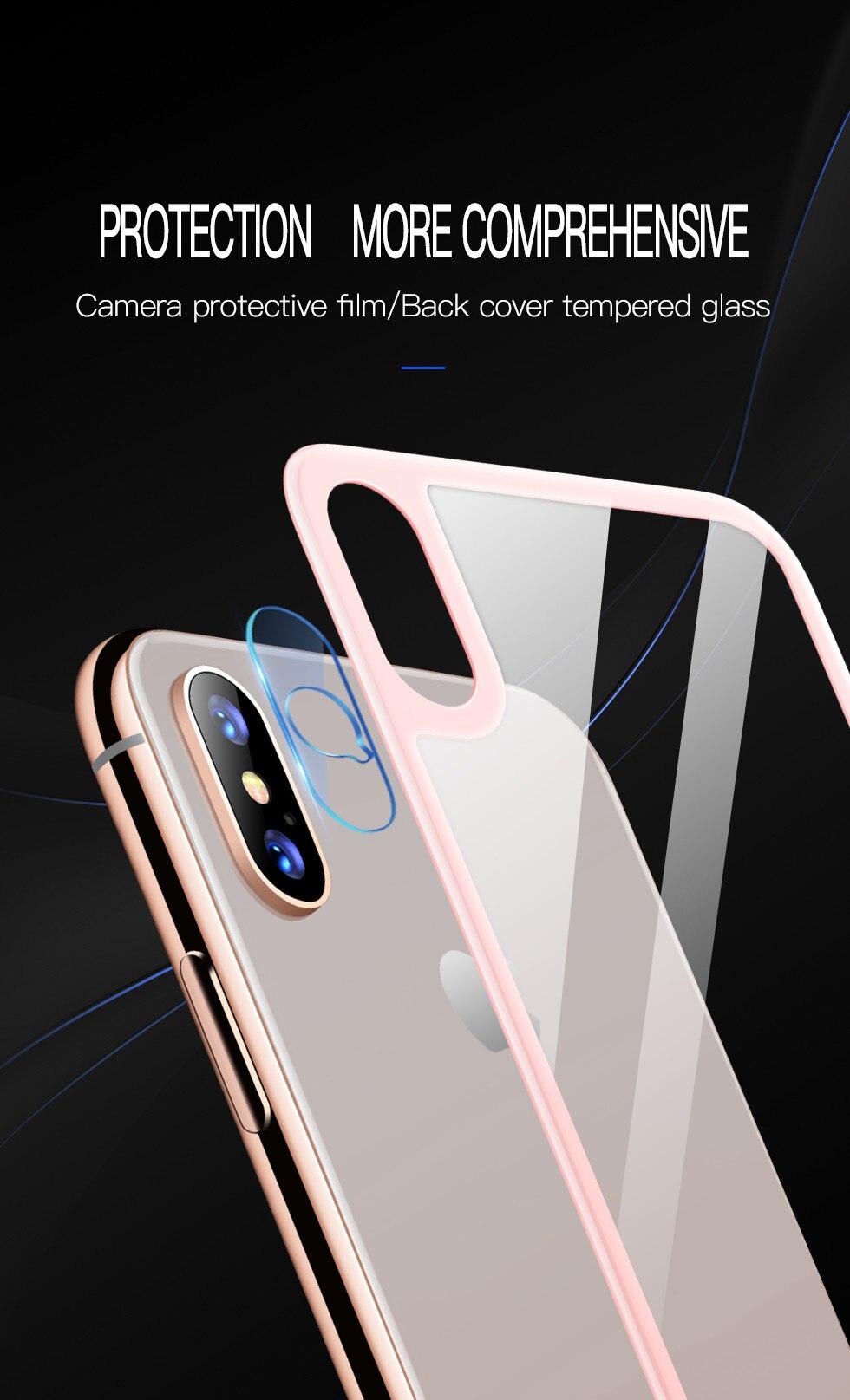 9d88c043657 Película trasera Cámara Len Protector de pantalla para iPhone XR/X/XS Max 3D  borde suave vidrio templado cubierta trasera Cámara lente protección  películas ...