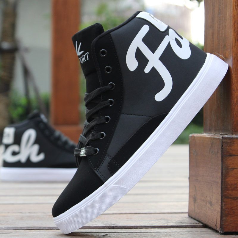 Men's Spring Autumn Shoes Skateboarding Shoes High Top Men British Style Comfortable Sneaker Men's Skateboarding Sneakers Sports