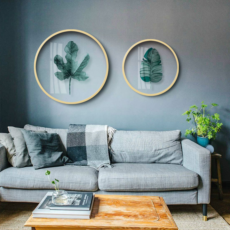 Nordic Green plant decorative painting Transparent round glass painting Living room restaurant plant leaves wall paintings