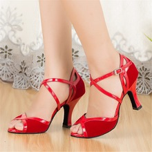 Flock Red Black Salsa Shoes Ladies Latin Dance Shoes Woman Ballroom Dance Shoes Girls Peep Toe Customized Heels JYG528
