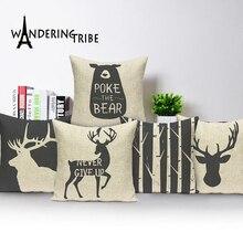 Car-Covers Decorative Linen Animal Dark-Blue Nordic Elk Bear Deer Soft-Seat Custom