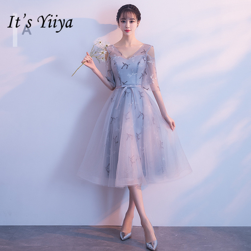 It's YiiYa Fashion Embroidery V-neck A-line   Bridesmaid     Dresses   Elegant Lace Mesh Gray Party   Dress   H124