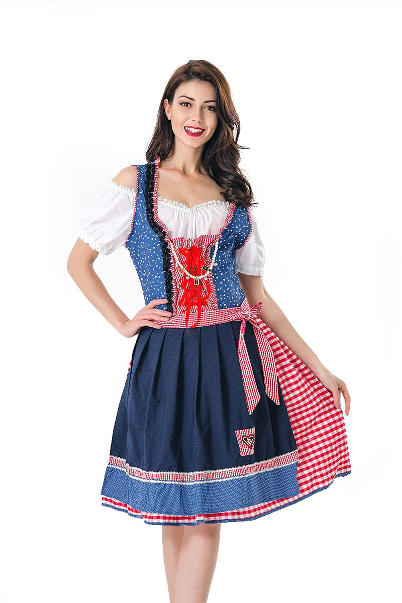 Adult Women Oktoberfest Dress Costume Fancy Wench Dirndl German Bavaria Carnival Blue Plaid Cold Shoulder Dress For Ladies XL