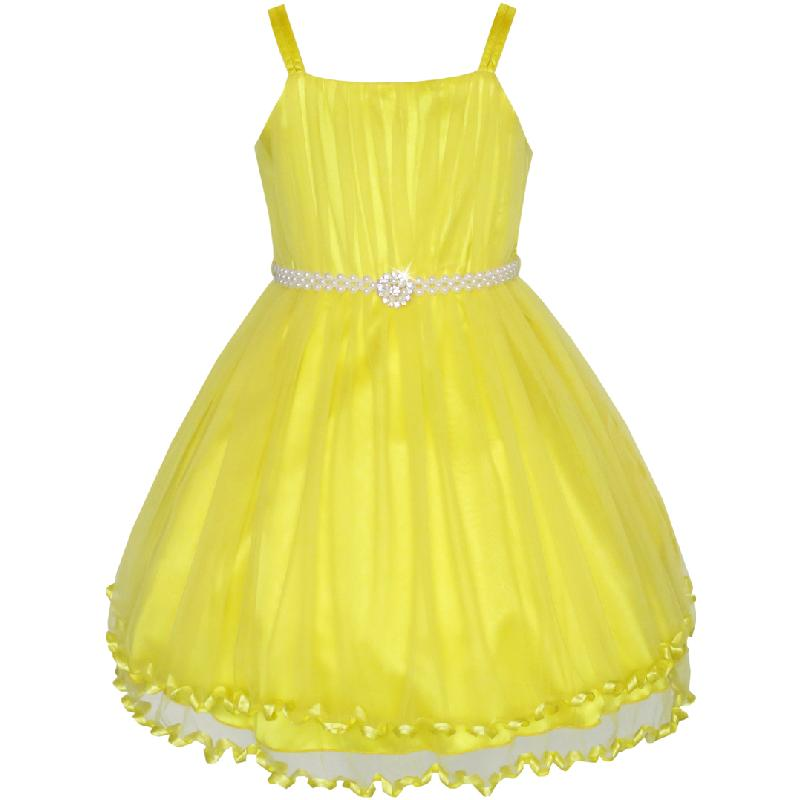 Sunny Fashion Flower Girls Dress Pearl Belt Pageant Wedding Party 2017 Summer Princess Dresses Kids Clothes Size 3-14 Sundress stainless steel vacuum bottle flask with carabiner clip green red 500ml