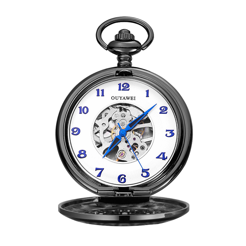 2018 New Vintage Skeleton Silver Mechanical Pocket Watch With Chain Men Hand Wind Necklace Pocket & Fob Watches for wedding gift luxury silver shield pattern round dial mechanical pocket watches casual fob watch for men women steampunk skeleton watches gift