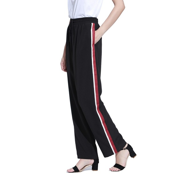 Red White Striped Side Straight Long Pants Woman Black Cross-Pants Trousers Casual Elastic Waist Loose Pants OWPT5007