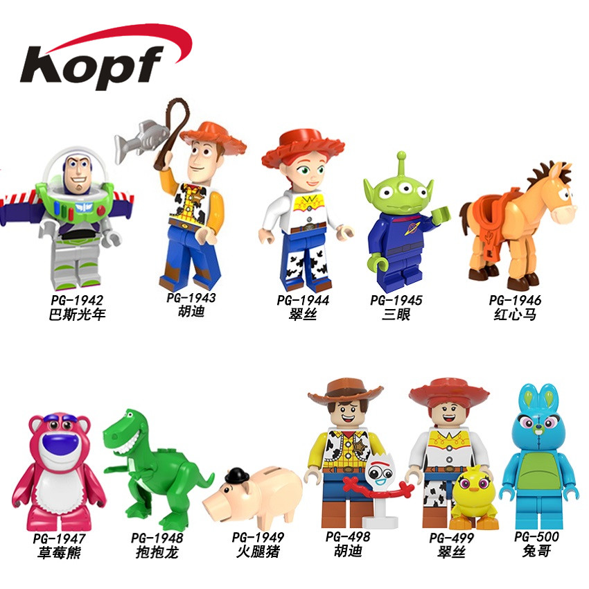 Single Sale Toys Story 4 Building Blocks Cartoon Woody Jessie Buzz Lightyear Roundup Figures For Children Toys Collection PG8270