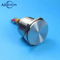 30mm Diamter Latching Stainless Silver IP68 Normally Open Off On Waterproof Flat Head Touch Sensor Car Bike Wired Piezo Switch