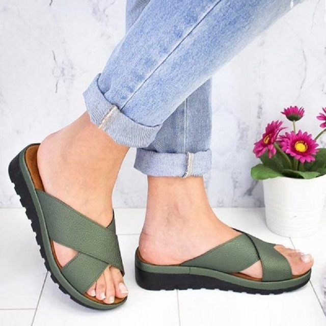 Cross-tied  Wedges Heel Beach Women Slippers Deep Toe 2019 Torridity Woman Outdoor -heel Bottom  Sandals Slides big toe sandal