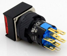 16 ММ Переключатель самоблокирующимся площадь индикатор DPDT 5A 220VAC (2a + 2b С LED) K16-382 DIP8 Топ красный цвет новое и оригинальное