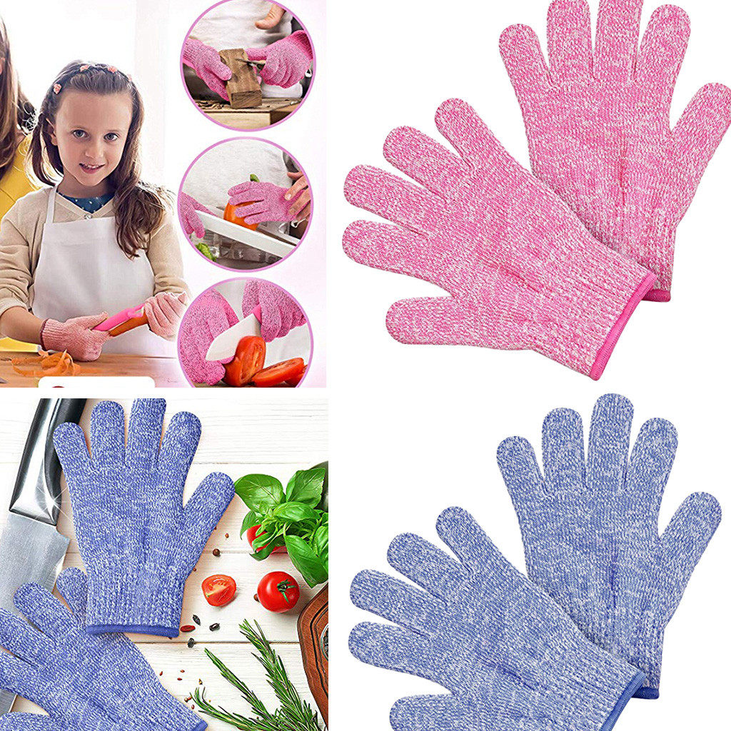 Diligent Blue And Pink Small Adult Anti Cut Gloves Maximum Kids Cooking Protection Handschoenen Vingers Gants Hiver For Kids Driving A Roaring Trade Apparel Accessories