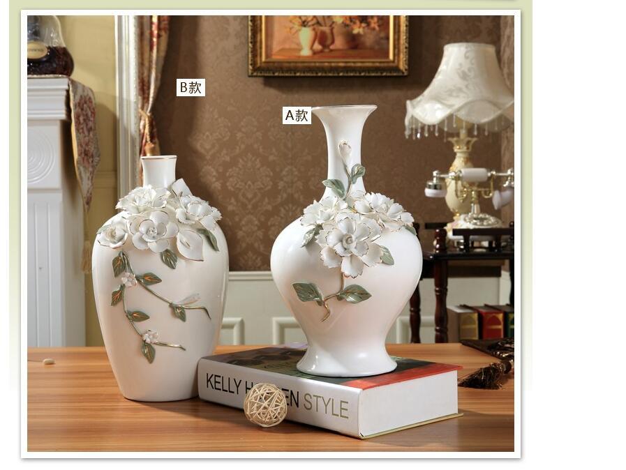 Chinese White Modern Flowers Vase