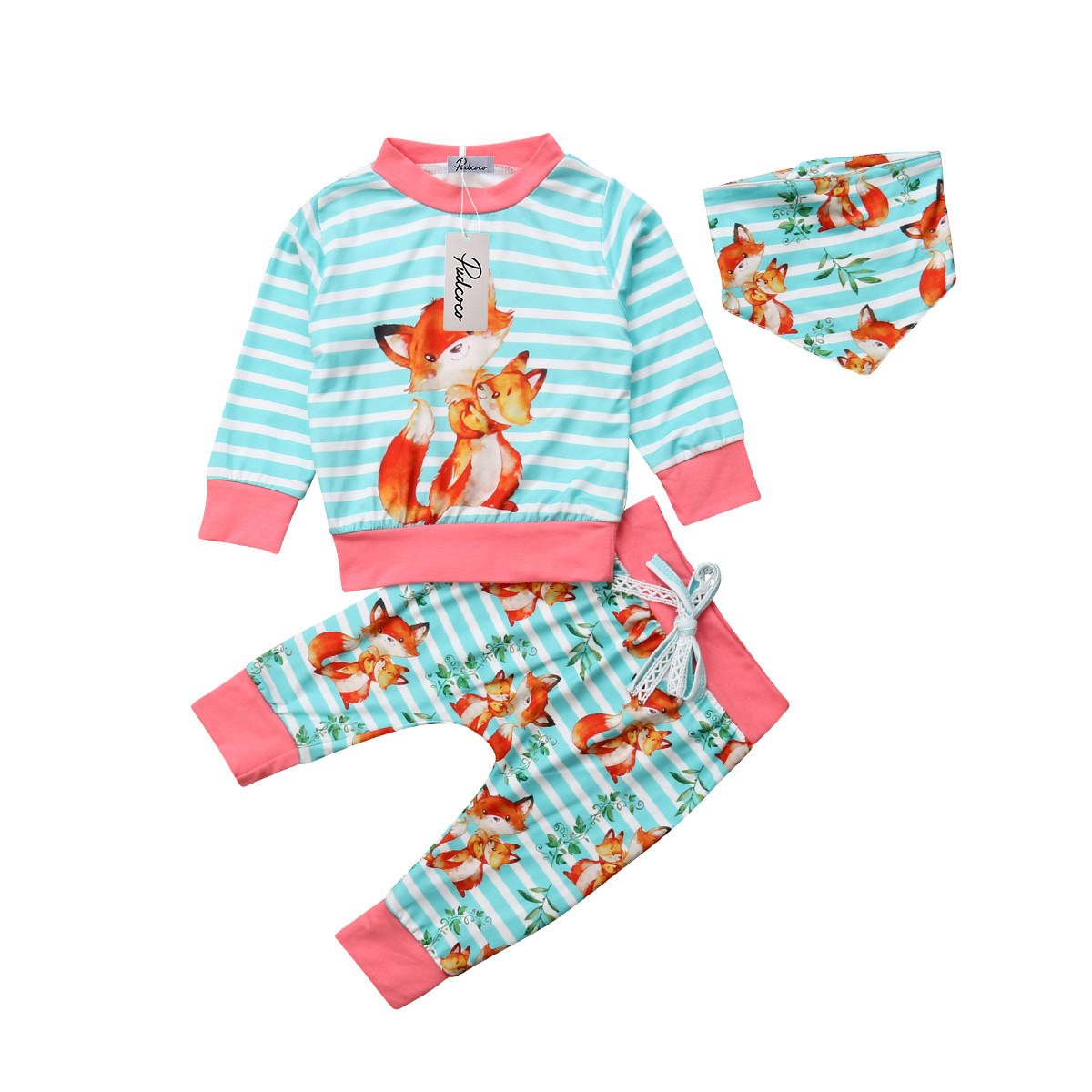 3 Pcs Babies Clothes Outfits Newborn Toddler Baby Kids Boy Girls Fox T shirt Tops Pants Set Clothes Outfits Joli Fille 2019 in Clothing Sets from Mother Kids
