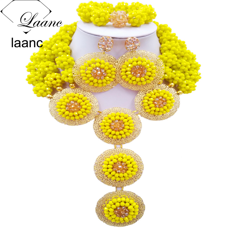 Laanc Opaque Yellow and Gold AB Ball Beaded African Beads Jewelry Set Crystal Nigerian Wedding Party Necklace AL562