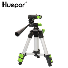 "Huepar Aluminum Portable Adjustable Tripod for Laser Level Camera with 3 Way Flexible Pan Head Bubble Level 1/4"" 20 Screw Mount"