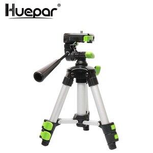"Image 1 - Huepar Aluminum Portable Adjustable Tripod for Laser Level Camera with 3 Way Flexible Pan Head Bubble Level 1/4"" 20 Screw Mount"
