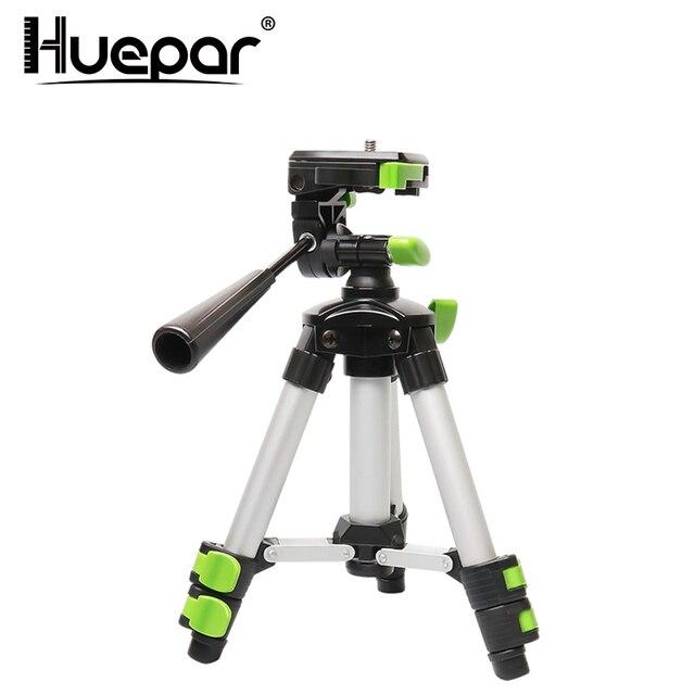 "Huepar Aluminum Portable Adjustable Tripod for Laser Level Camera with 3 Way Flexible Pan Head Bubble Level 1/4"" 20 Screw Mount"