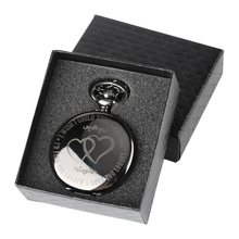 I WISH COULD TURN BACK TIME Theme Retro Black Smooth Quartz Pocket Watch Engraved LOVE YOU LONGER + 30cm Chain Gifts Box