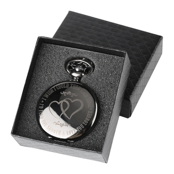 I WISH COULD TURN BACK TIME Theme Retro Black Smooth Quartz Unique Engraved Custom LOVE Pocket Watch With 30cm Chain Gifts Box - discount item  30% OFF Pocket & Fob Watches