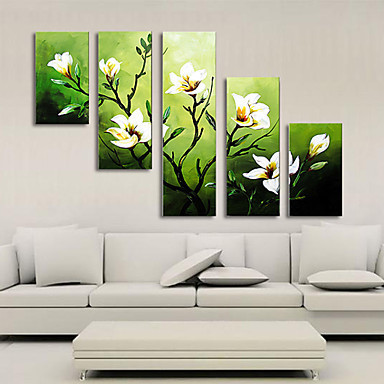 5 Panel Wall Art Pictures Botanical Red Feng Shui White Orchid Oil Painting On Canvas The