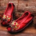 2016 Новые весенние квартир женщин обувь из натуральной кожи женщины повседневная мокасины цветок плоским пятки мягкая подошва ручной работы квартир женщин