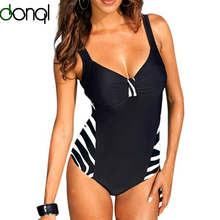 DONQL 2017 One Pieces Swimsuit Plus Size Women Sexy Bathing Suits Vintage Summer Beach Wear Swim Suit Stripe Large Size Swimwear
