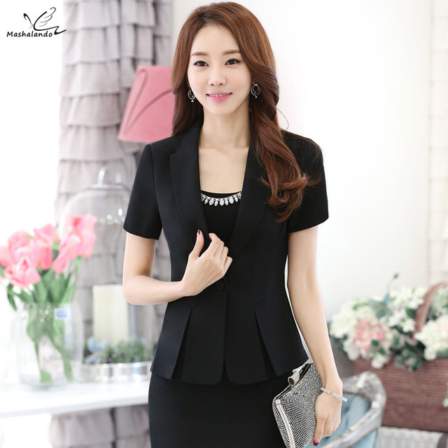 Fashion Women S Skirt Suits 2016 New Summer Ol Formal Short Sleeve Blazer With Business Workwear