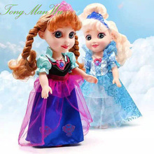 40 CM Musical Snow Queen Young Toddler Elsa  Anna Sisters Princess In Childhood Dolls Figure Toys Bonecas Figure Gifts For Child