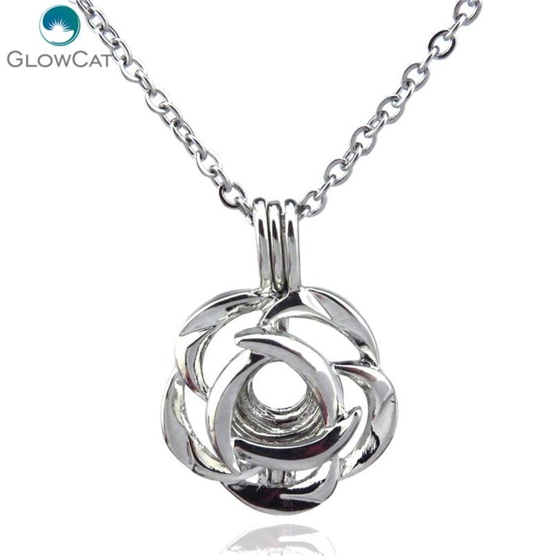 K99 Серебряный тон 25,5 мм роза фотоэлемент медальон ожерелье Ароматерапия сталь 18