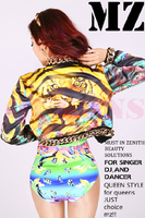 S XXXL ! DJ European American female singer Jennifer Lopez atmosphere Bright color Women's stage gold chain costumes clothing