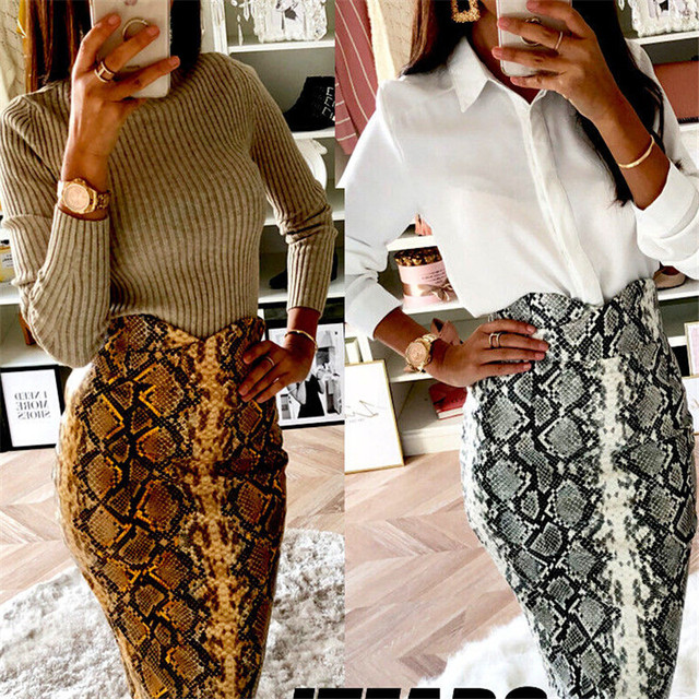 2019 Fashion Sexy Snake Print Midi Pencil Skirt Women High Elastic Waist Office Lady Bodycon Knee Length Skirts Saias Faldas Muj 6