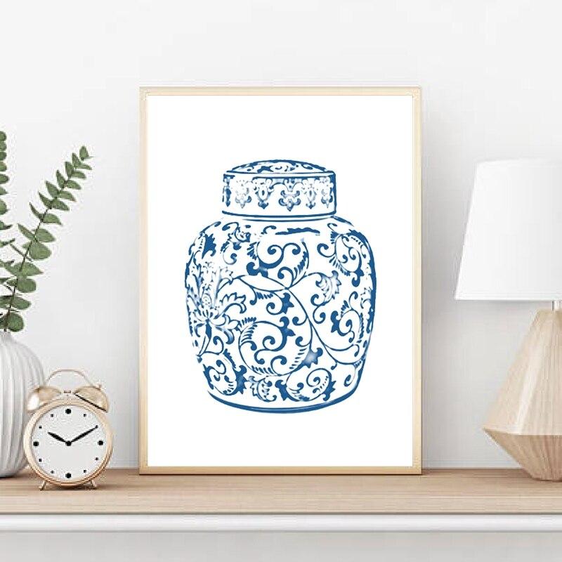 Chinoiserie Vases Canvas Print Living Room Decor