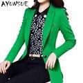 Big Size 4XL Blazer Feminino 2017 Primavera New Long Sleeve Estilo Coreano OL Mulheres Ternos Elegantes Slim Mulheres Longas Blazer AW0331
