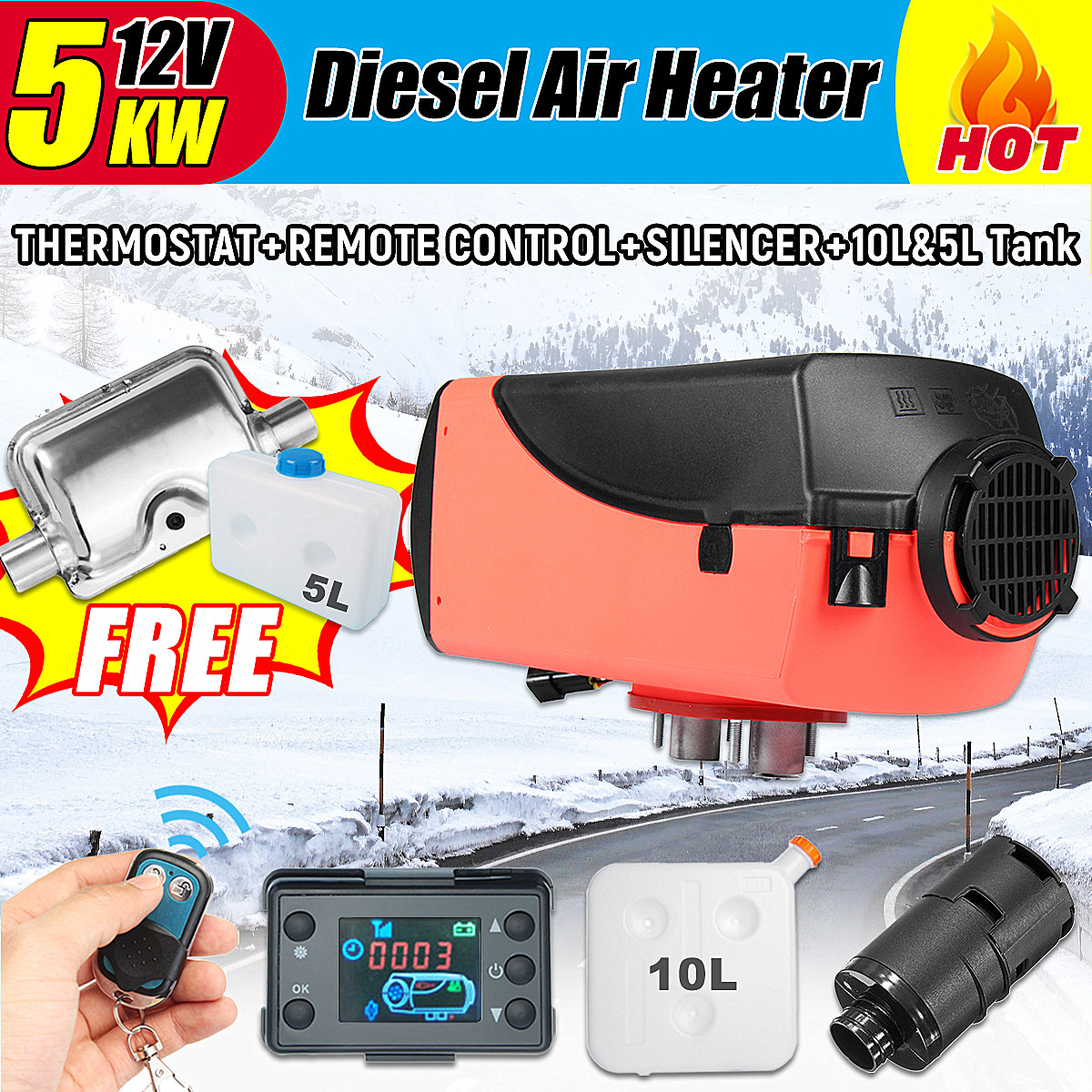 12V 5000W LCD Monitor Air diesels Fuel Heater Single Hole 5KW For Boats Bus Car Heater With Remote Control and Silencer And Tank цена