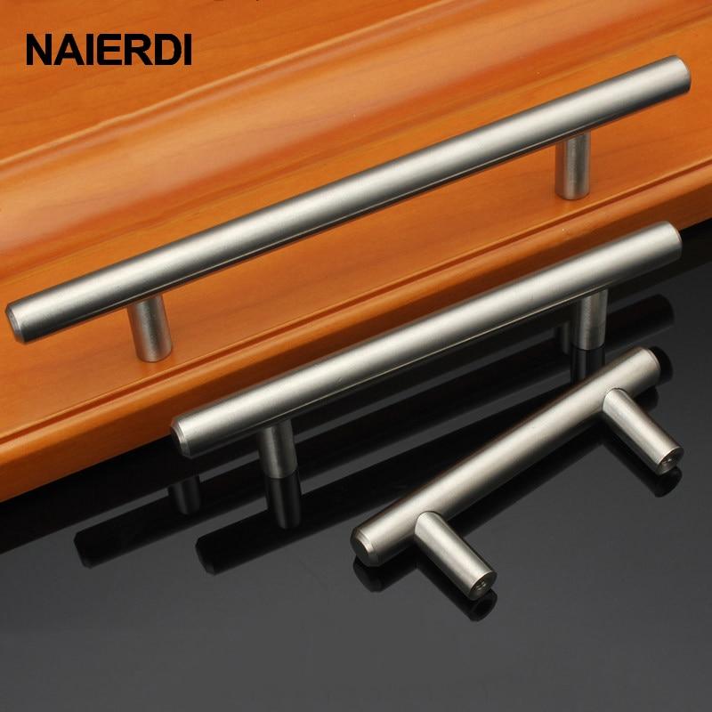 "Купить с кэшбэком NAIERDI 2"" ~ 24'' Stainless Steel Cabinet Handles Diameter 10mm Kitchen Door T Bar Straight Handle Pull Knobs Furniture Hardware"