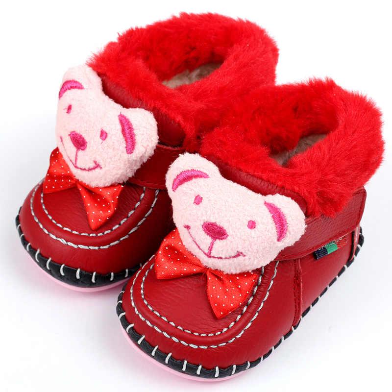 GSCH кожаные ботинки для младенца зимние теплые ботильоны с медведем для девочек мягкий кроличий мех для мальчиков детские мокасины Младенческие ботинки детские первые ходунки