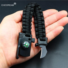 New Outdoor Camping Rescue Paracord Bracelet Men Survival Parachute Cord Multifunctional Braided Rope Bracelet Knife Compass(China)