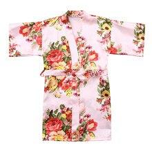 Одежда для малышей Детская одежда для девочек с цветочным рисунком Шелковый атласное кимоно; наряд, одежда для сна, одежда для девочек изящная одежда для детей Костюмы