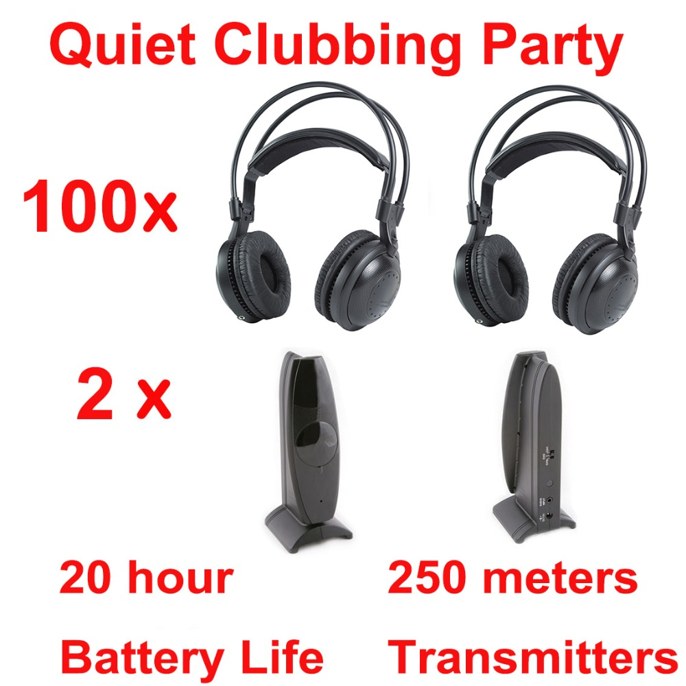 Professional Silent Disco compete system wireless headphones - Quiet Clubbing Party Bundle (100 Headphones + 2 Transmitters) wireless fm transmitters square dance convention professional transmitters