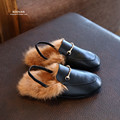 Koovan Fur Slippers 2017 Winter Children's Casual Rabbit Hair Baby's Leather Shoes Princess Super Stars Girls Behalf Warm Flats
