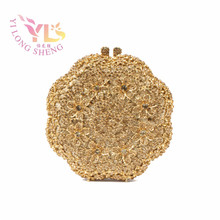 Gold Flower Crystal Evening Clutch Hand Bag for Special Occasion 2017 Summer Fashion Clutch Crystal Bag Design Purse YLS-F03