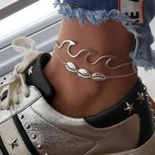 WNGMNGL 2019 Best New Season Hot Sale Shell Letter Rope Chain Simple Retro Anklets Adjustable For Men Couple 2PCS/Set