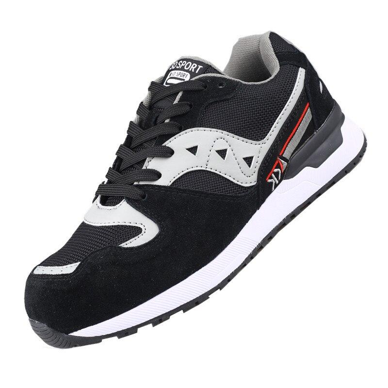 DEWBEST, Мужская защитная обувь со стальным носком, защитная обувь, легкая, 3D ударопрочная, рабочие кроссовки, обувь для мужчин - Цвет: Black