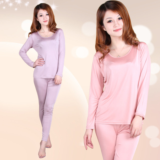 120g female double faced silk underwear set mulberry silk underwear set long sleeve length pants at home service sleepwear