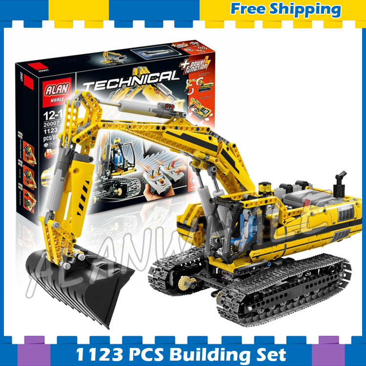1123pcs New Techinic Remote Controlled Motorized Excavator 20007 DIY Model Building Kit Blocks Gifts Sets Compatible With lego 1636pcs 2in1 techinic remote controlled