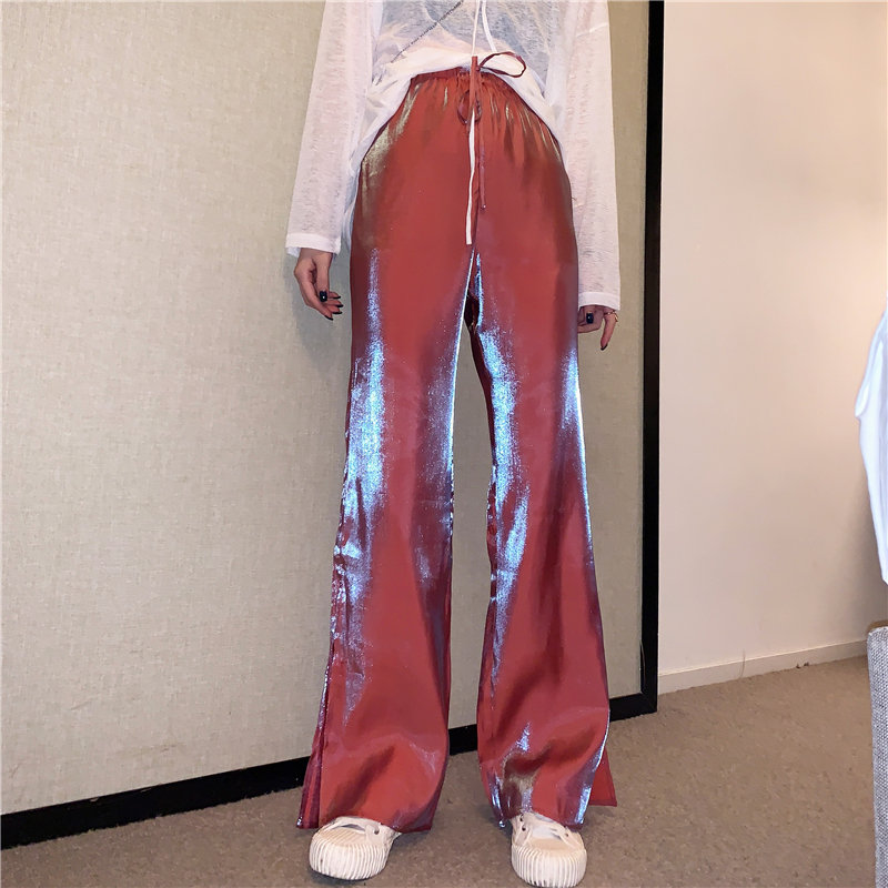 Alien Kitty 2019 Summer High Waist Casual Lace Up Side Split   Wide     Leg     Pants   Straight Solid Loose Full Length All Match Trousers
