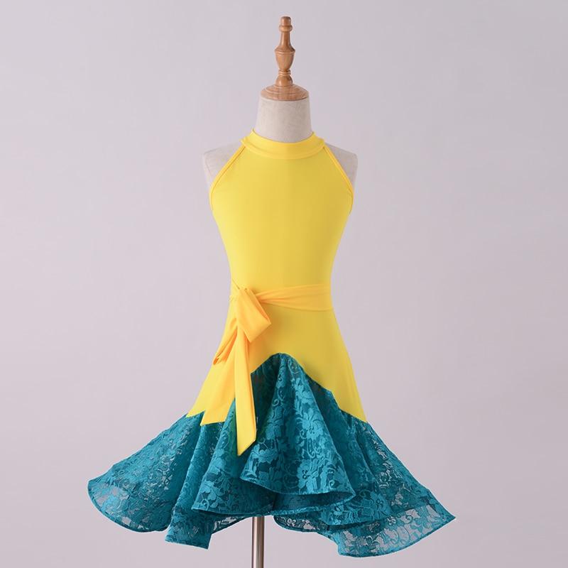 New Latin Dance Dress Kids Dresses For Girls Yellow vs Blue Lace Cha Cha Flamengo Tango Salsa Dress Competitive Dance Dress BL04