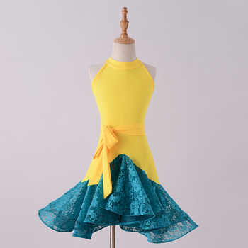 New Latin Dance Dress Kids Dresses For Girls Yellow vs Blue Lace Cha Cha Flamengo Tango Salsa Dress Competitive Dance Dress BL04 - Category 🛒 Novelty & Special Use
