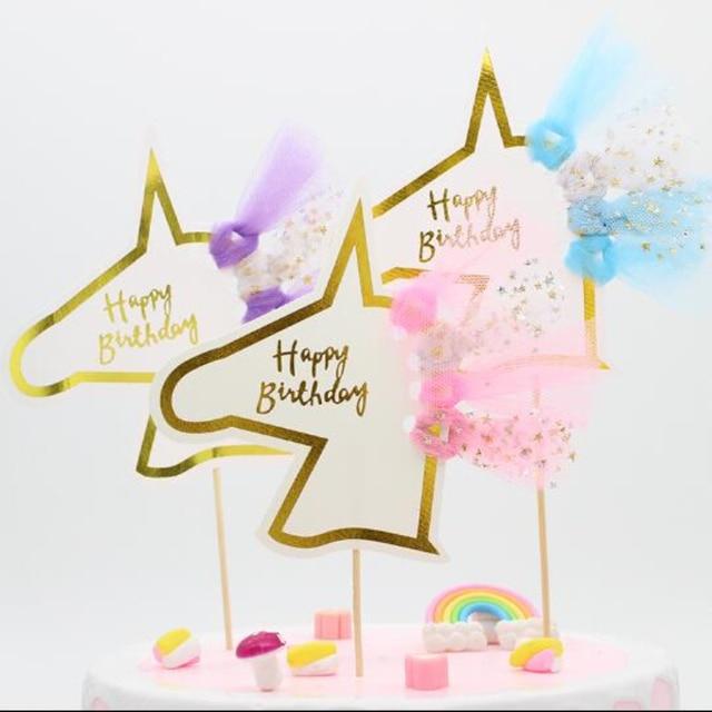 Arco Iris dorado unicornio adorno acrílico para pastel nube piruleta forma decoración de pasteles bebé cumpleaños Cupcake Topper boda torta Decoración